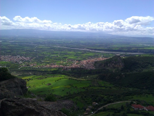 View of Francavilla Marrittima and the plain of Sibari from half way up the Serra del Gufo